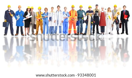 Group of industrial workers. Isolated over white background. - stock photo