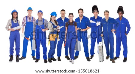Group Of Industrial Workers Standing Over White Background - stock photo