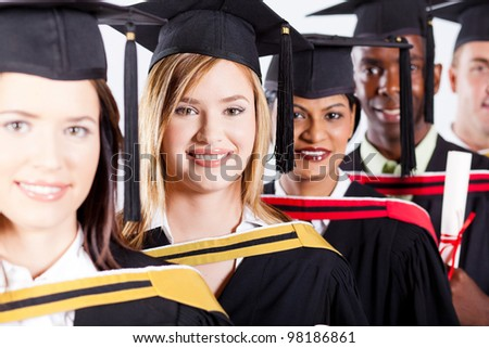 group of international graduates closeup portrait - stock photo