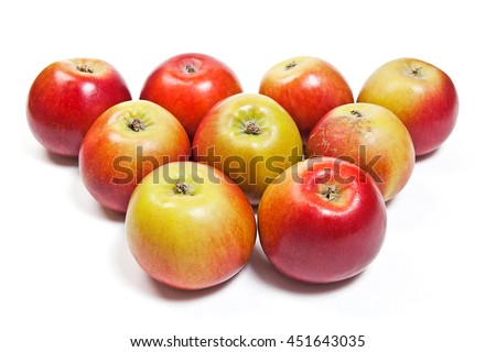 Group of juicy ripe red apple. Isolated on white background. - stock photo
