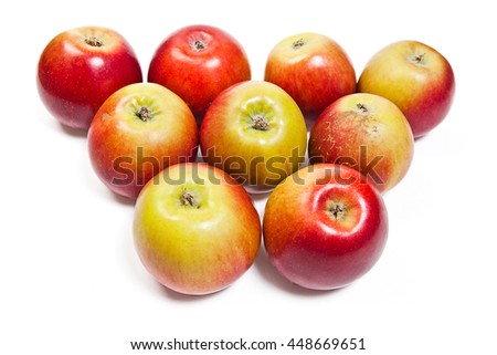 Group of juicy ripe red apples. Isolated on white background. - stock photo