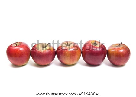 Group of juicy ripe red apples. With clipping path. Isolated on white background. - stock photo