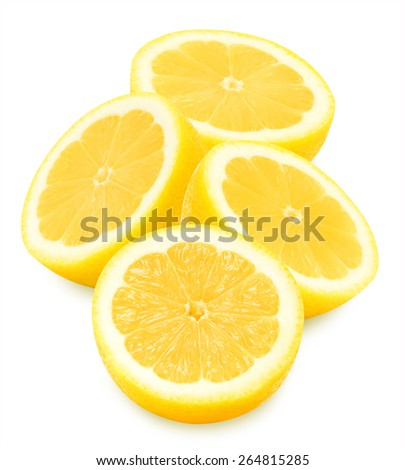 Group of juicy yellow lemon slices on a white background isolated - stock photo