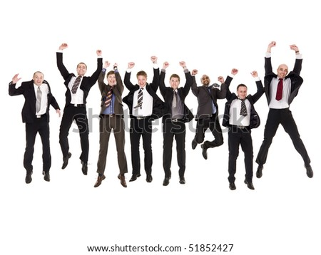 Group of jumping businessmen isolated on white background - stock photo