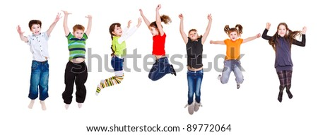 Group of jumping children, over white - stock photo