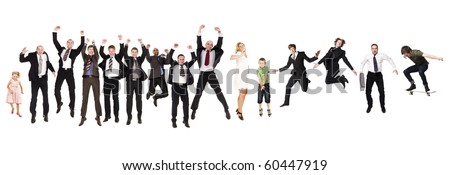Group of Jumping People isolated on white Background - stock photo