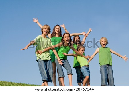 group of kids at summer camp - stock photo