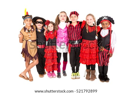 Group of kids in Halloween costumes isolated in white