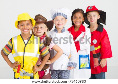 group of kids in uniforms costumes - stock photo