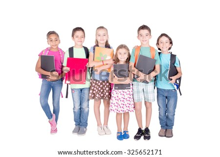 group of kids isolated in white background at school