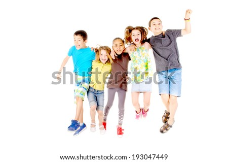 group of kids jumping isolated in white - stock photo