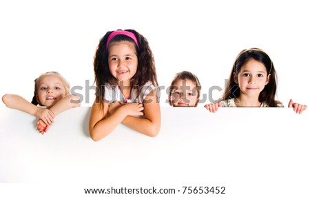 Group of  kids over white background