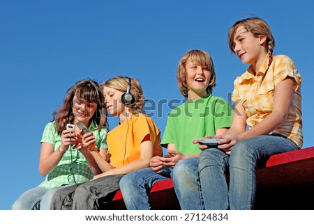 group of kids playing - stock photo