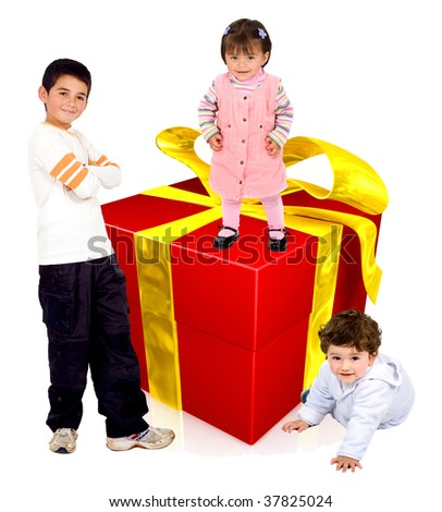 Group of kids with a gift isolated over white - stock photo