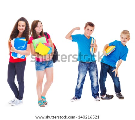 Group of kids with books ready for school - stock photo