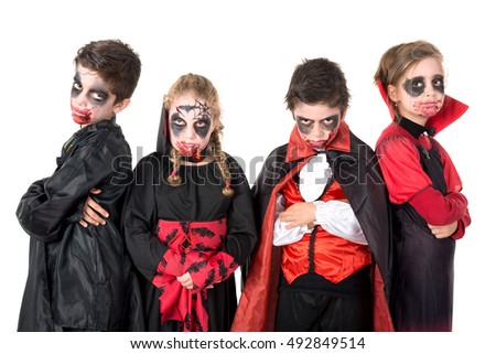 group of kids with face paint and halloween vampire costumes - Vampire Pictures For Kids