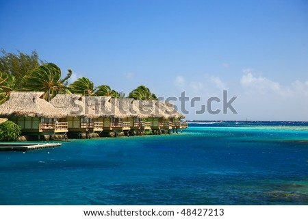 group of lagoon bungalow at resort - stock photo
