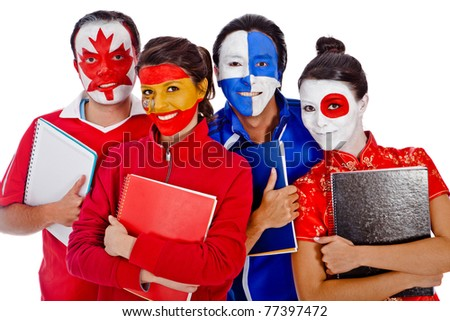Group of languages students with flags of different countries painted on their faces - stock photo