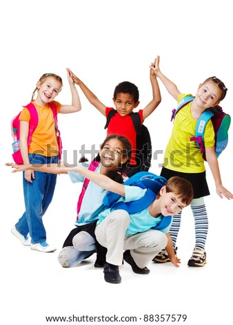Group of laughing kids in bright t-shirts - stock photo