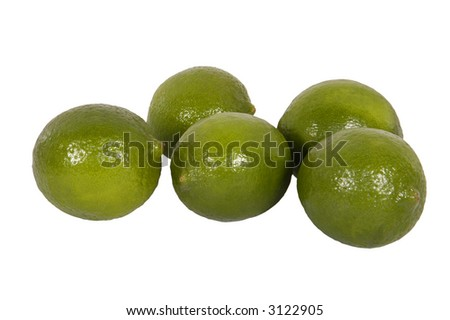 group of limes on a white background - stock photo