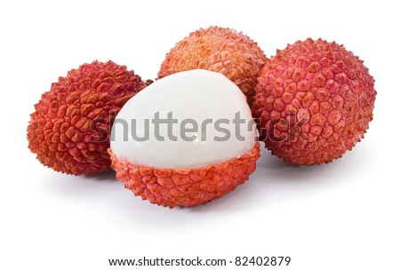 Group of litchi isolated on white background - stock photo
