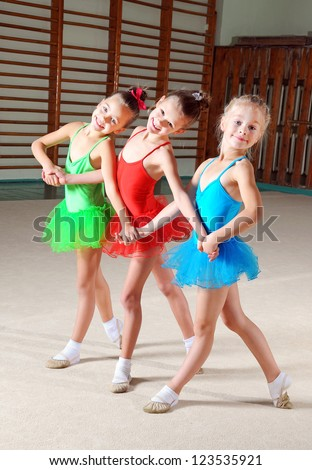 Group of little ballet dancers - stock photo