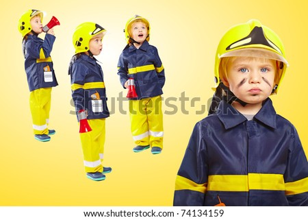 Group of little boys in fireman costume isolated on white background - stock photo