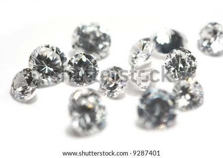 Group of little diamonds on a white background. - stock photo