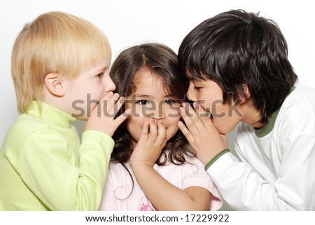 Group of little friends. Children on a light background - stock photo