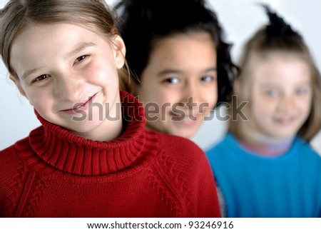 Group of little girls - stock photo