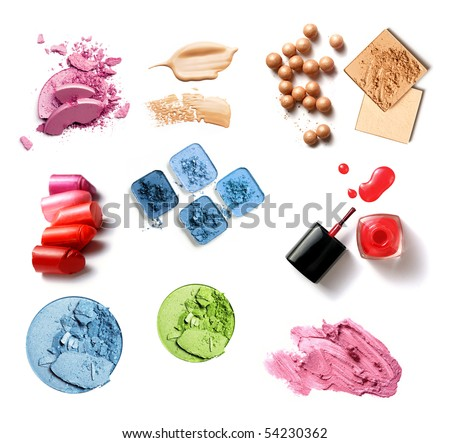 group of make-up products isolated on white - stock photo