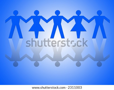 Group of male and female paper chain representing teamwork. - stock photo
