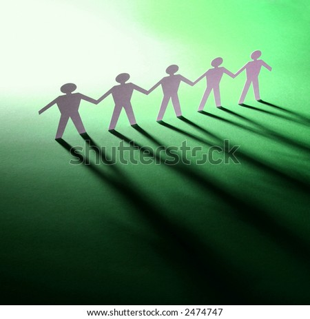 Group of male paper chain - stock photo