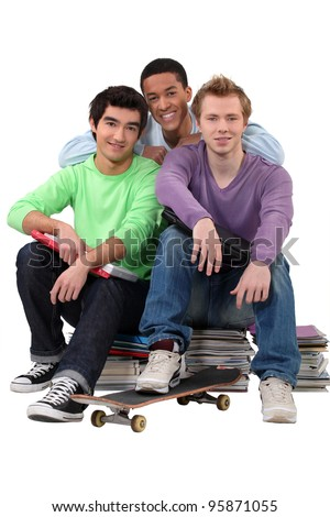 Group of male students - stock photo