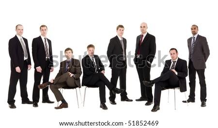 Group of management men isolated on white background - stock photo