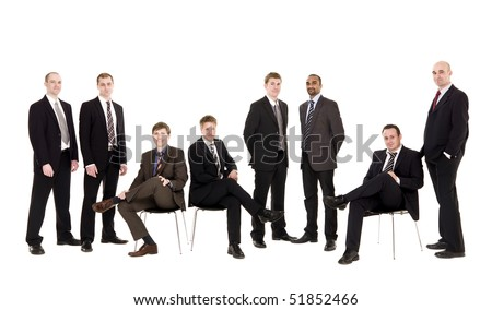Group of management people isolated on white background - stock photo