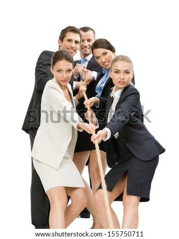Group of managers pull the rope, isolated on white. Concept of teamwork and promotion