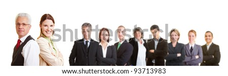 Group of many successful lawyers in a working team - stock photo