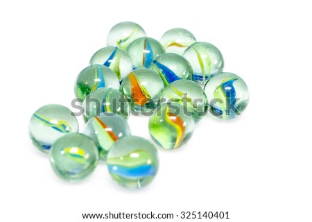 Group of Marbles Colorful with shadow on white background