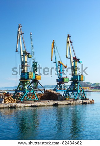 Group of marine cranes in a port
