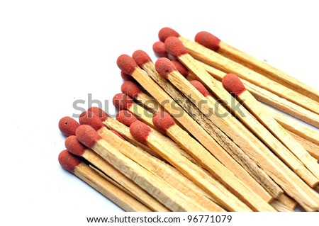 Group of matchstick on white - stock photo