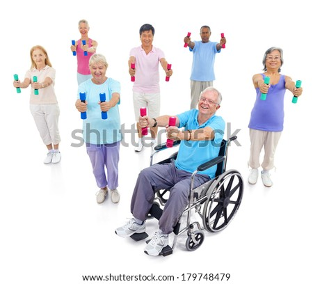 Group of Mature Diverse People Exercising with Weights - stock photo