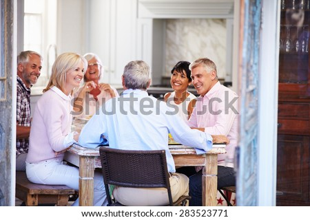 Group Of Mature Friends Enjoying Meal At Home Together - stock photo