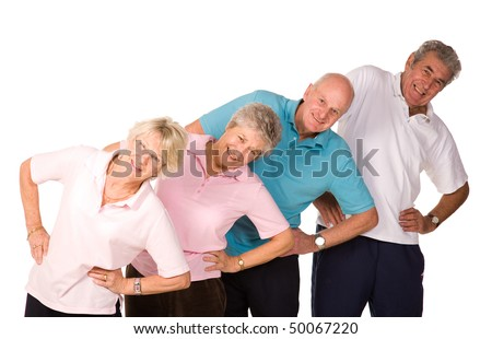 Group of mature older people stretching and warming up before exercise