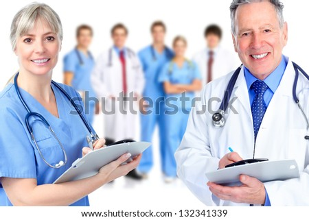 Group of medical doctor. Isolated on white background. - stock photo