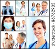 Group of medical doctors. Collage. Health care. - stock photo