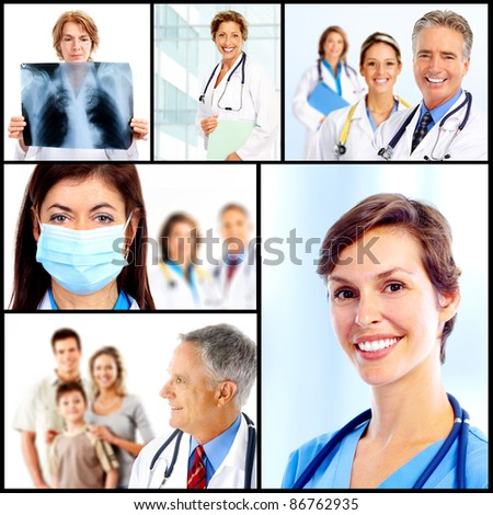 Group of medical doctors. Collage. Health care.