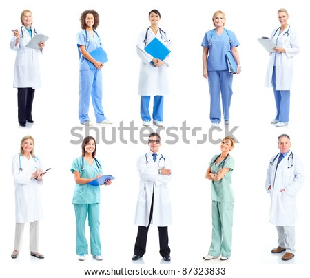 Group of medical doctors. Health care. Isolated on white background. - stock photo