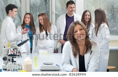 group of medical students in laboratory - stock photo