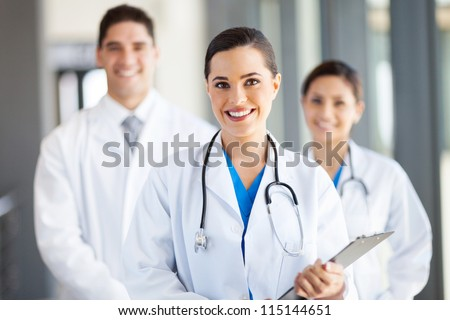 group of medical workers portrait in hospital - stock photo